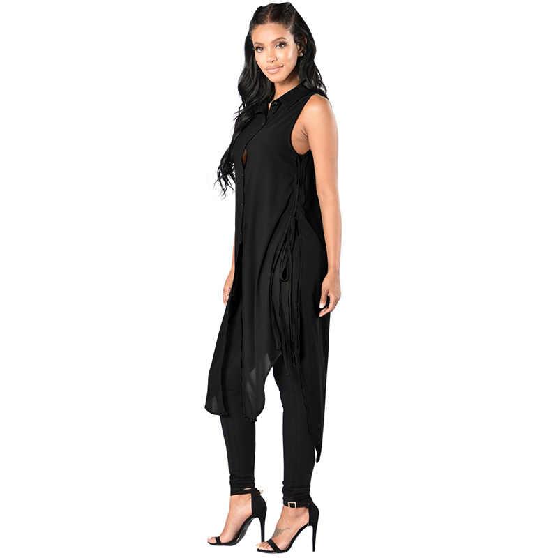 4791d6a0e03 ... Корейский стиль Для женщин топы без рукавов Длинные рубашки Шнуровка по бокам  высокий разрез пуговицах Блузка ...