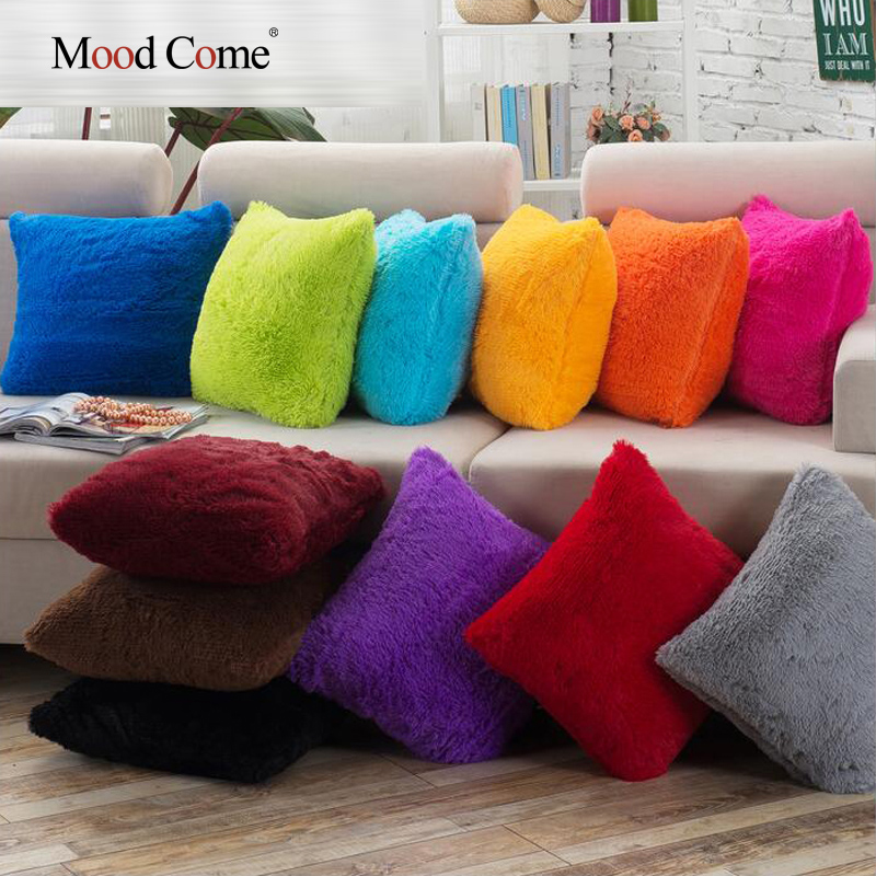 Soft Shaggy Sofa Cushion Cover Solid Color Throw Pillow Covers Cushion Case Decorative Pillow Case Plain
