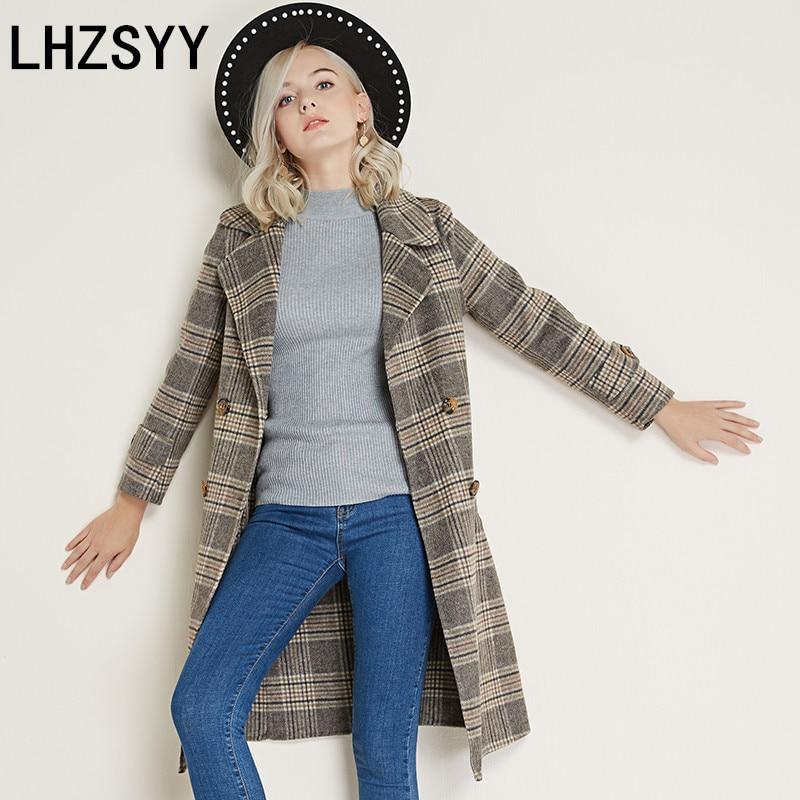 LHZSYY Autumn Winter New Women's Cashmere Coat Fashion Loose Tie Long Thick Warm Female Double-Sided woolen coat V-neck Jacket