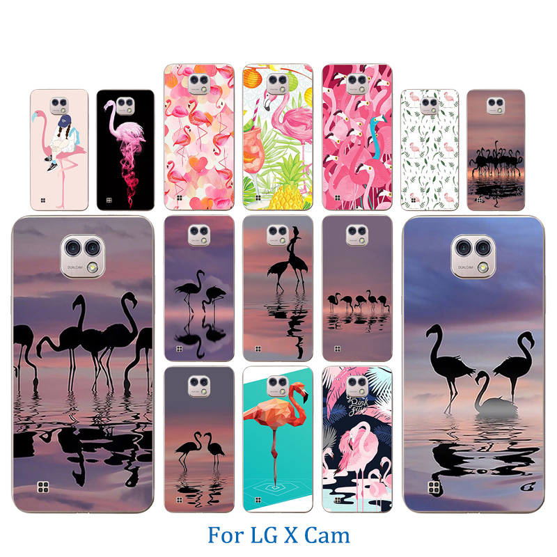 For LG X Cam Case Soft TPU Flamingos Pattern Shell For LG K580 K580DS Cover For LG X Cam K580 K580DS 5.2 inch Phone Cases