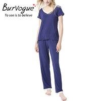 Burvogue Women Sexy Modal Long Pajama Sets Homewear Cotton Pajamas Set Sleepwear Short Sleeve Pajamas Two