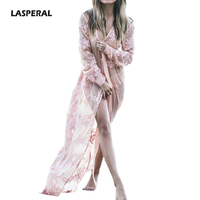 LASPERAL Beach Dress Female Long Floral Printed Bikini Cover Ups Chiffon Dresses Summer Sexy Swimsuit Bikinis