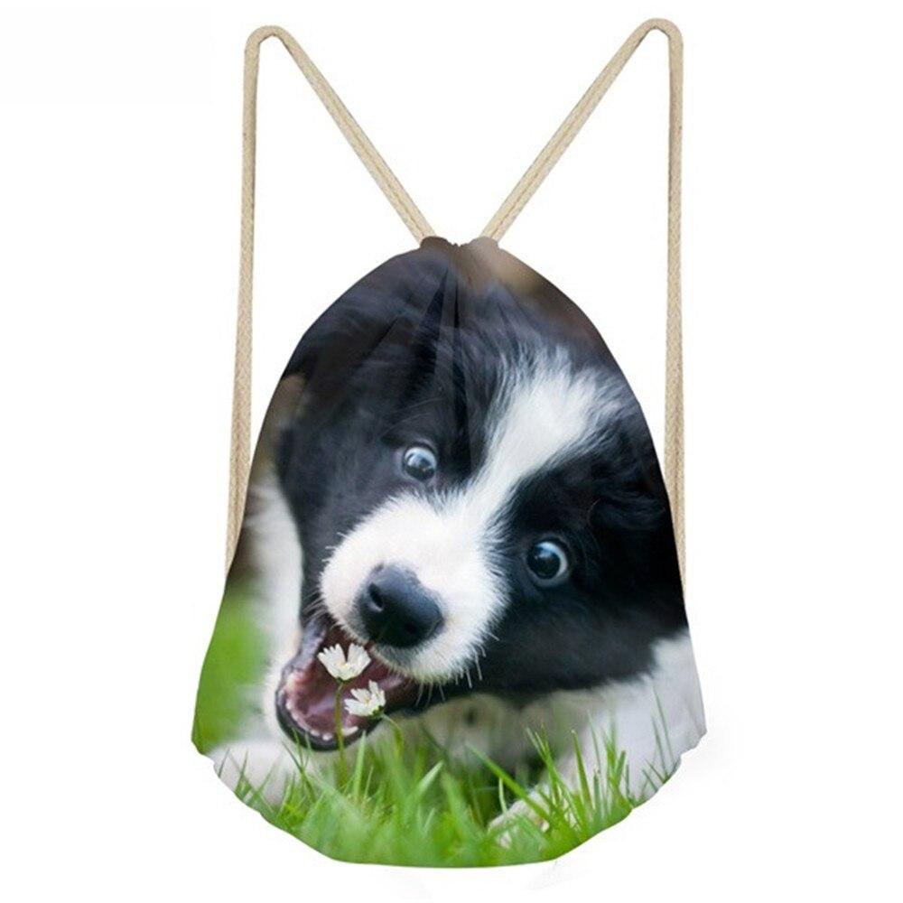 ThiKin Women Cute 3D Dog Border Collie Print Drawstring Bag  Funny Pack For Children Kids Softback Eco Beach Bag Faye Bag