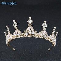 Mamojko New Design Rhinestone Pearl Bride Wedding Queen Crown For Women Fashion Crystal Bridal Crystal Tiara