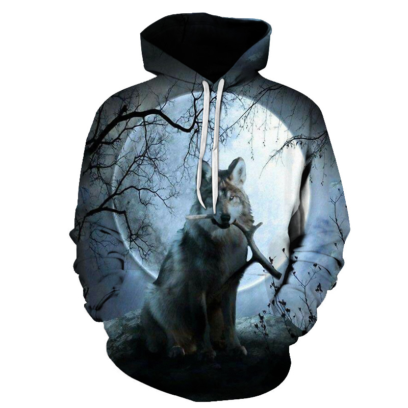 Funny Wolf Hoodies Men 3D Sweatshirts Brand Hooded Pullover Male Tracksuits Unisex 6XL High Quality Boy Hoodie Fashion Outwear