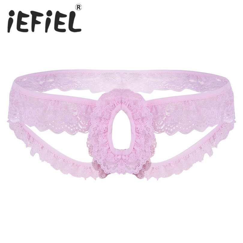 iEFiEL Sexy Mens Lingerie Lacy Frilly Sissy Panties Crotchless Open Back G-string Male Underwear with Open Hole Bikini Panties