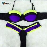 2015 Summer Style New Sexy Neon Push Up Swimwear Brazilian Bikini Patchwork Swimsuit Women Biquinis Bathing