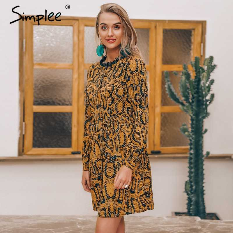 Весеннее женское короткое платье Simplee, со змеиным принтом, повседневное клубное кружевное платье с длинным рукавом и пуговицами