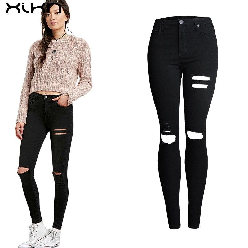 2017 moda pantalones rotos agujero las mujeres de cintura for Agujeros femeninos