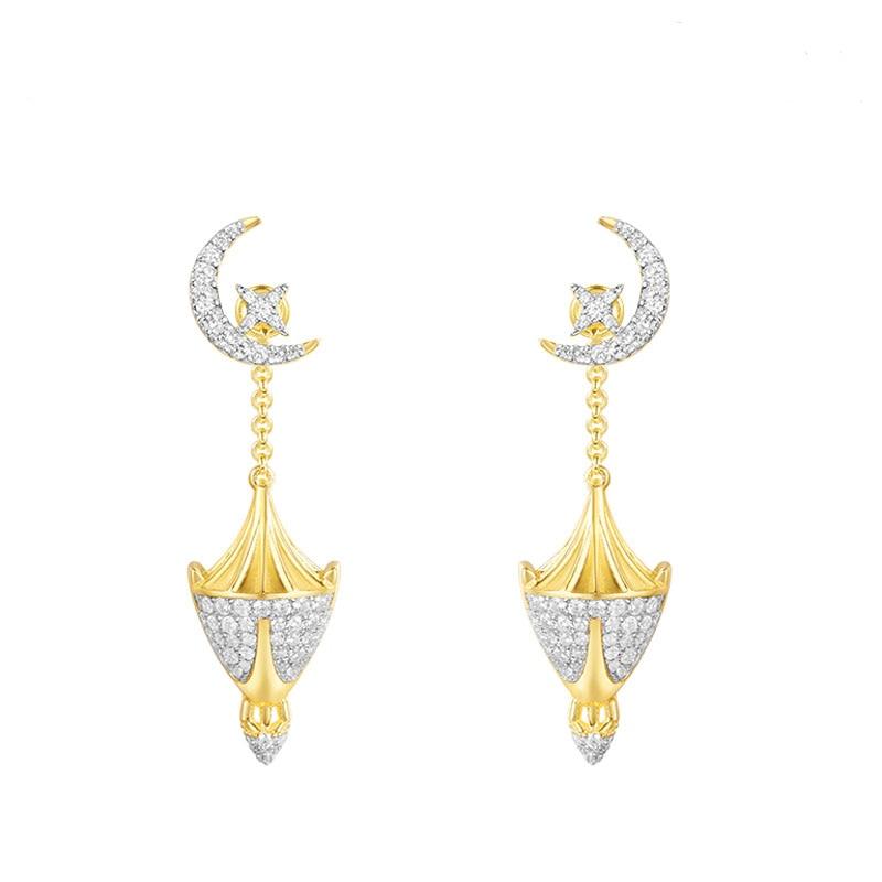 цена на SKA Women Drop Earrings Gold Color Monaco Style Jewelry Lantern Shape AAA Zircon Fashion Earrings For Women AE10599OXY