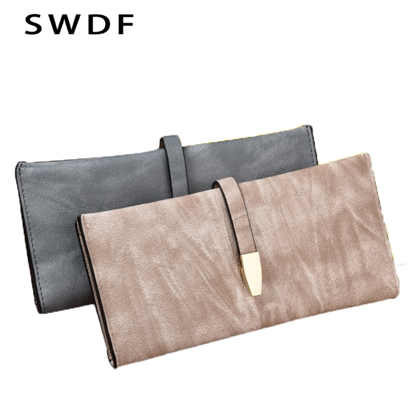 SWDF New Woman Wallet Long Section Casual Retro Ladies Minimalist High Capacity Multi Thin Coin Pocket Clutch Design Wallets