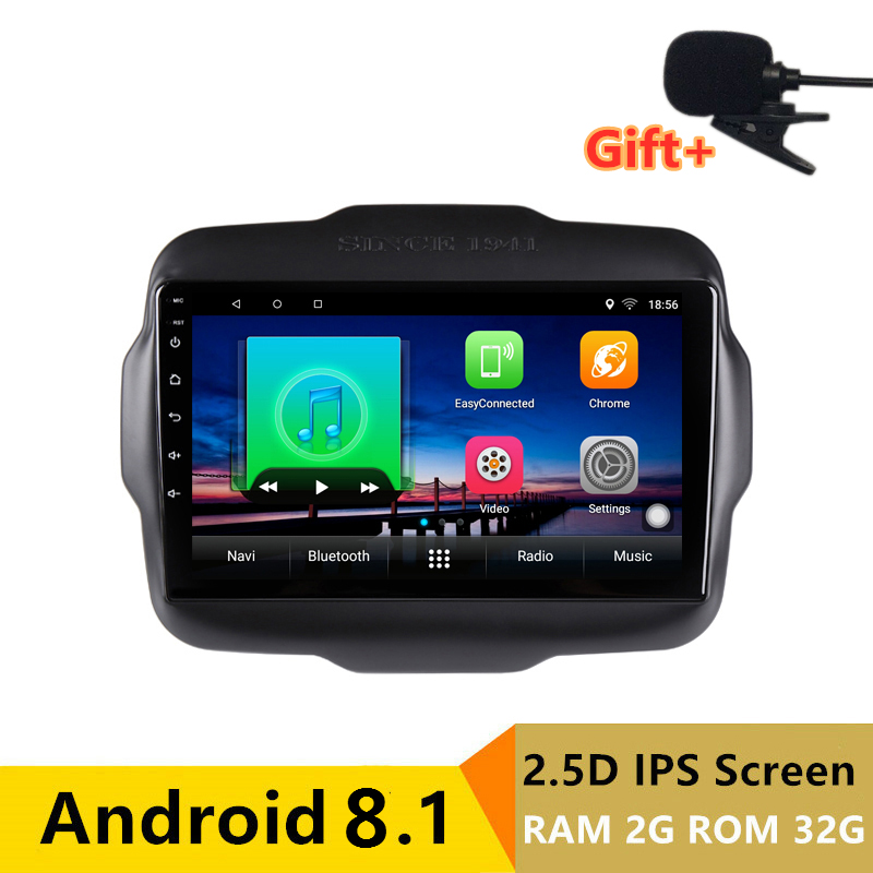 "9"" 2+32G 2.5D IPS Android 8.1 Car DVD Multimedia Player GPS for Jeep Renegade 2015 2016 2017 audio car radio stereo navigation"