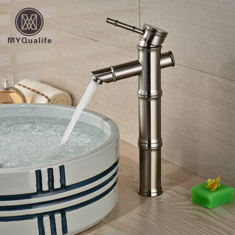 цена на Luxury Bamboo Shape Countertop Basin Sink Faucet Deck Mount Brushed Nickel Bathroom Mixer Taps
