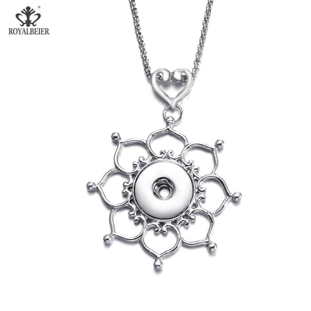 ROYALBEIER Multi Designs Vintage Metal Necklace DIY Button Jewelry 18mm Snap Pendant Necklace Snap Jewelry For Women XL0150