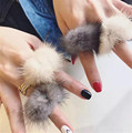 Hot New Winter Fashion Women Water Mink Fur Ball Knuckle Metal Rings Finger Joint Ring Jewelry Gift Charm Bijoux aneis feminino