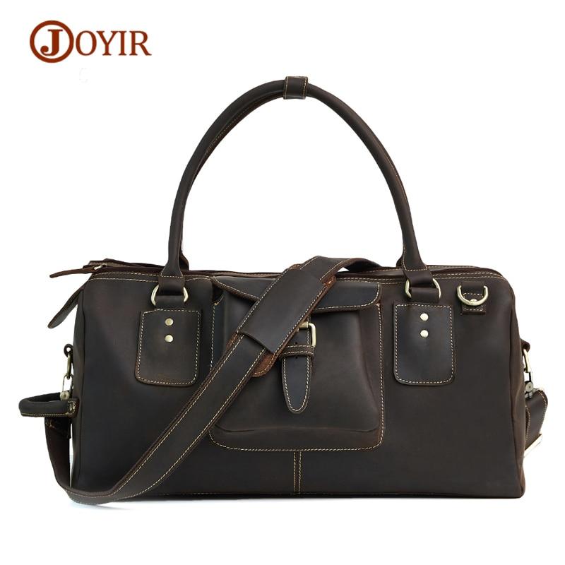 JOYIR Luggage Bag 100% Genuine Leather Men Travel Bags Male Luggage Travel Bags Men Large Tote Duffle Bag Men Shoulder Handbags pabojoe duffle bags 100
