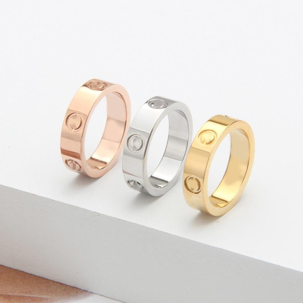 Brand Classic Titanium Steel Silver CZ Engagement Wedding Rings Logo Love Rings for Women Men Bague Femme Top Quality Engraved цена 2017