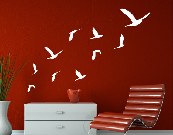 clearance 10 flying birds wall decals wall stickers home decor stikers for wall decoration diy