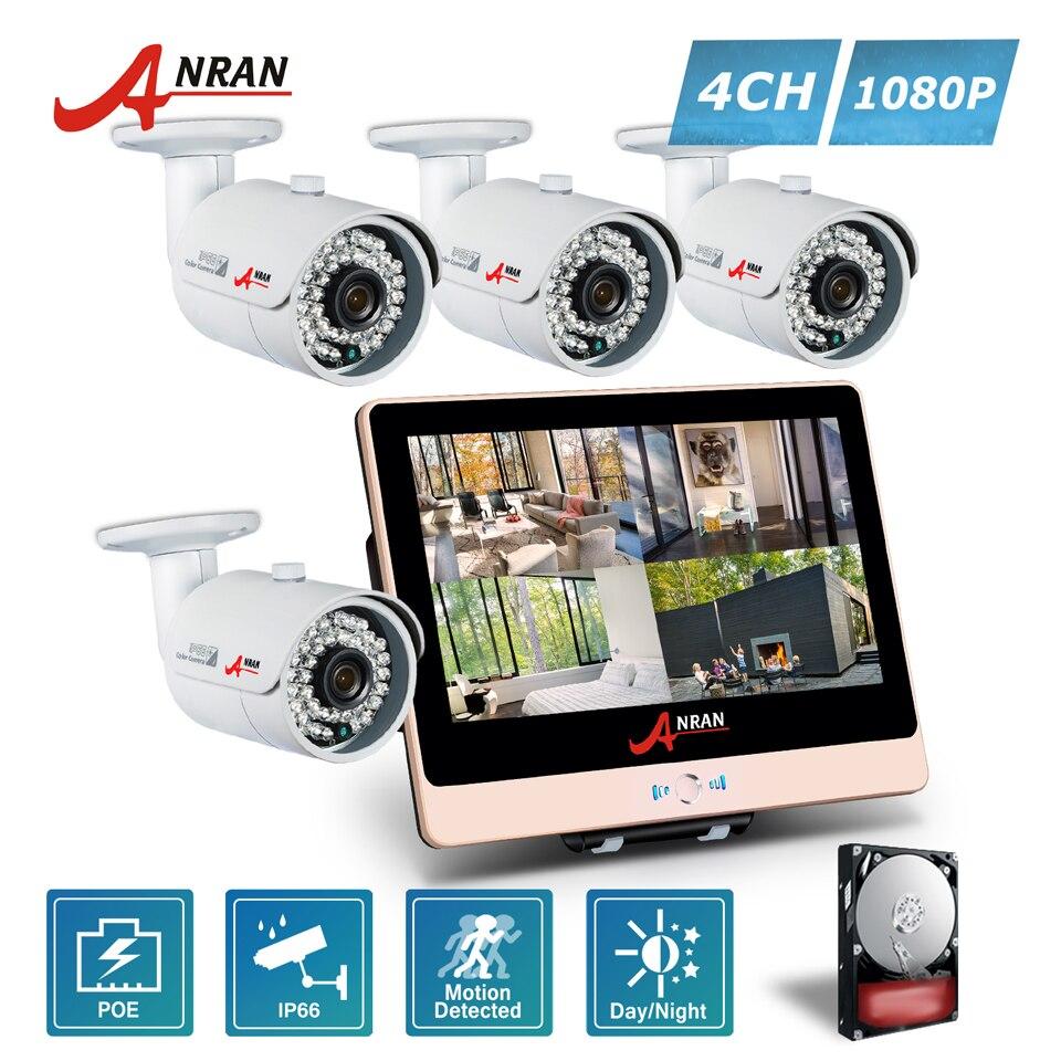 ANRAN P2P 1080P HDMI 4CH POE NVR LCD Monitor 36 IR Outdoor Waterproof Security IP Camera