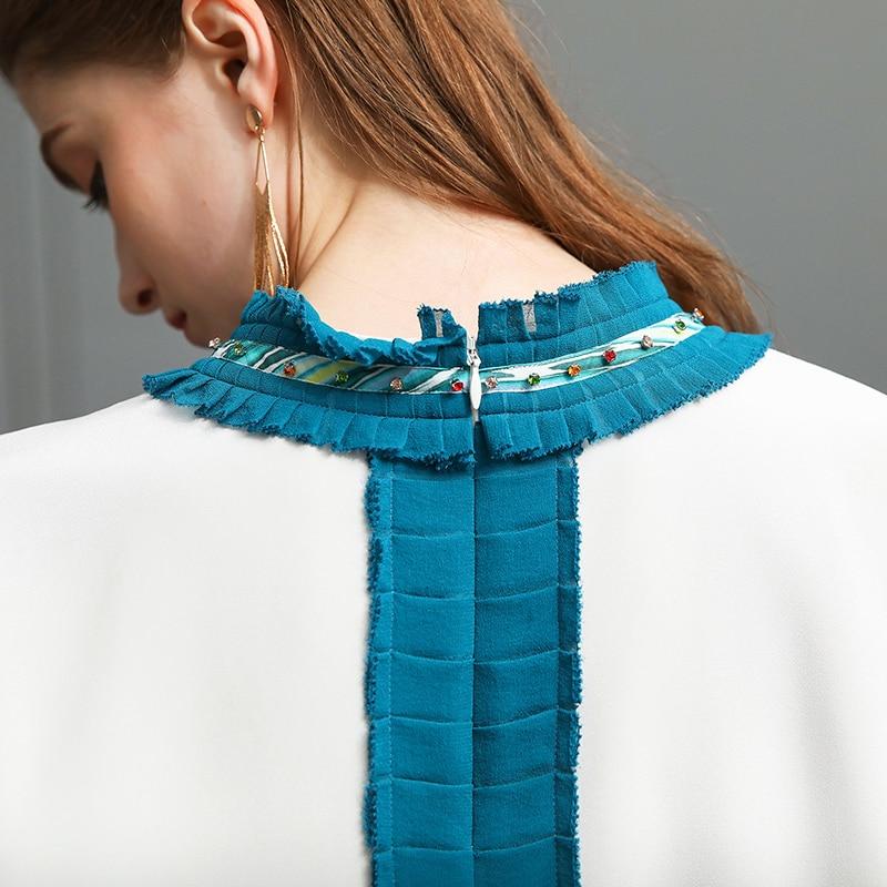 VOA Heavy Silk Plus Size Beading T Shirt Bat Long Sleeve Patchwork Slim Women Tops White Basic Casual Pullover Tee Spring B107 - 4