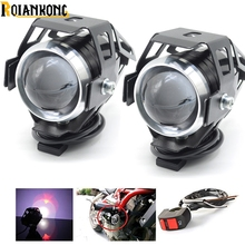 2019 NEW 1pair Motorcycle Headlight 125w LED U5 led fog light moto spotlight Head auxiliary font