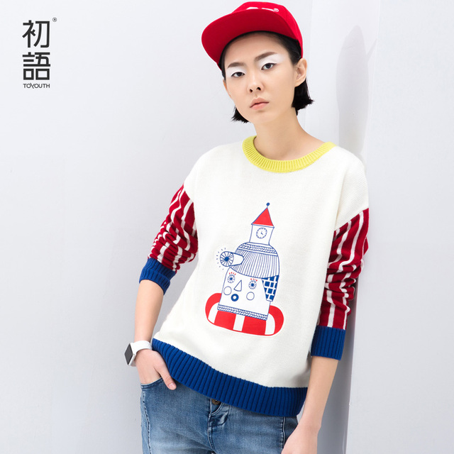 Toyouth 2017 New Arrival Spring Women Fashion Splice Stripe Sleeve Cartoon Pattern O-Neck Casual Loose Female Sweater