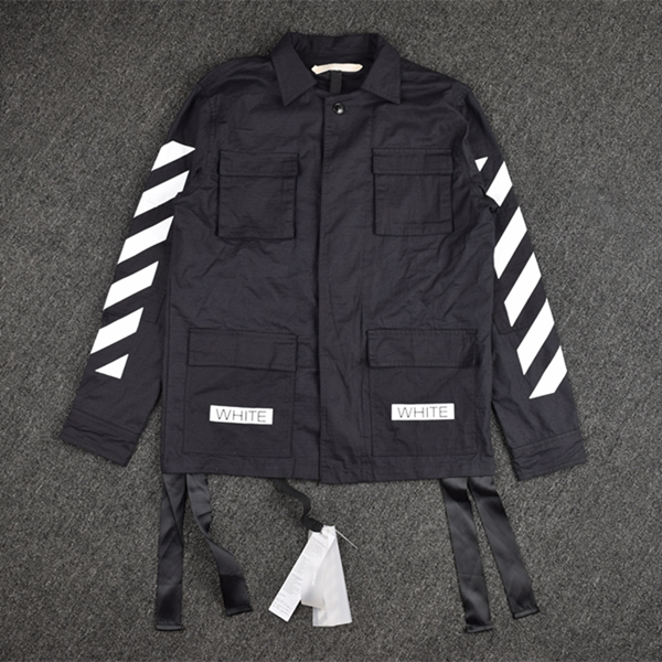 2016 new Fashion off white stripe thin tooling multi pocket jacket coat font b shirt b