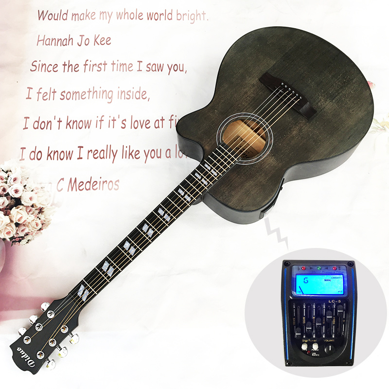 40 inch 6 string electric acoustic guitar pick up equipment steel strings folk guitar pop. Black Bedroom Furniture Sets. Home Design Ideas