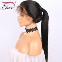 Elva Hair 180 Density Glueless Full Lace Human Hair Wigs Remy Hair Brazilian Straight Lace Wigs