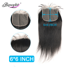 Peruvian Hair 6x6 Lace Closure Straight Swiss Natural Color 8-24 Inch With Baby 100% Human Remy Bigsophy