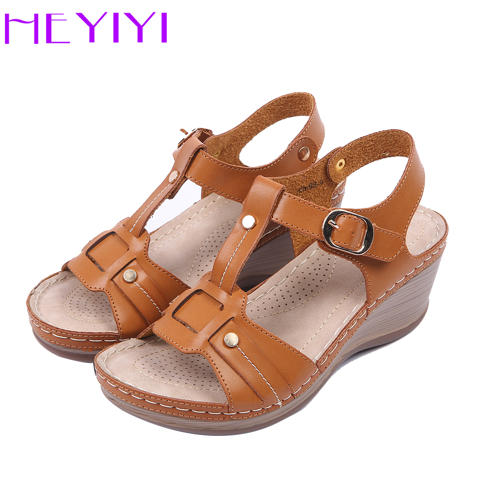 HEYIYI Women Sandals Platform Wedges Lightweight Casual Heel Sewing T-strap Comfortable Soft Insole Buckle Shoes Buckle Strap