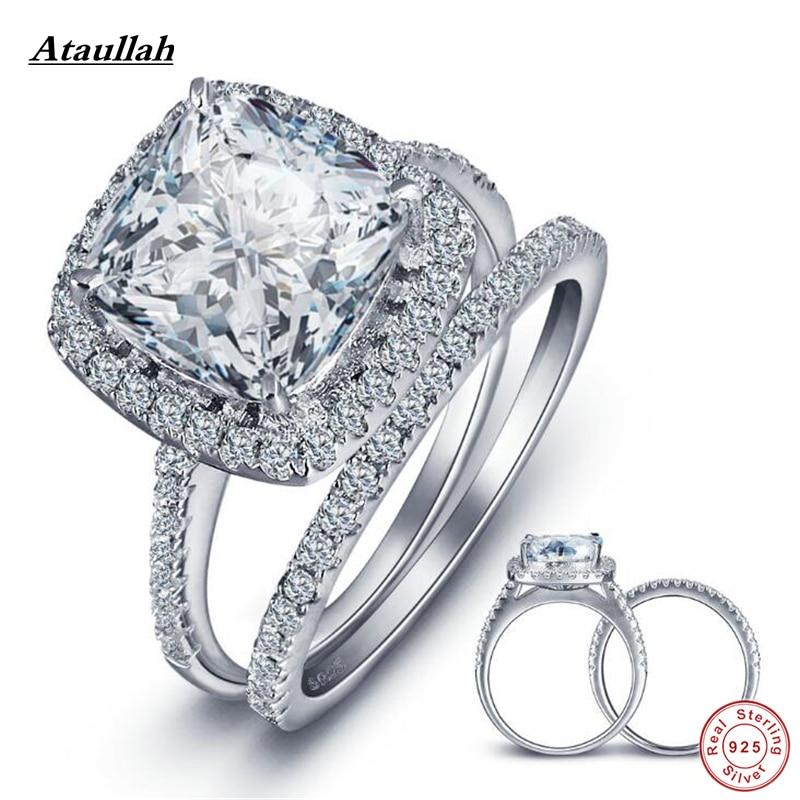 Ataullah 2Pcs 13*10MM Big 925 Sterling Silver Rings Set for Women Zircon SONA Diamond Wedding Ring for Engagement Jewelry RWD840