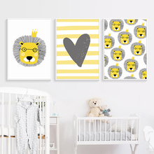 Nordic Cute Cartoon Animal Lion Children Bbedroom Canvas Painting Art Abstract Print Poster Picture Wall Baby Home Decoration