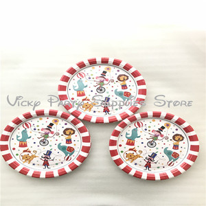 Image 4 - 80pcs/lot Cartoon Creative Circus Theme Birthday Party Tablewear Set Disposable Napkins Plates Cups Set Circus Party Supplies