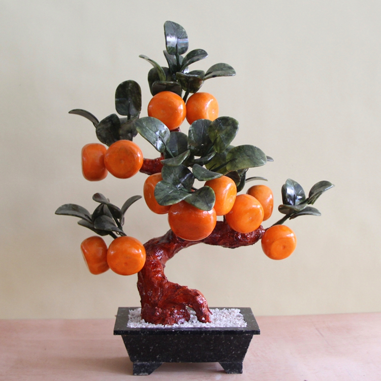 Jade pot 12 large orange tree living room TV cabinet decoration Home Furnishing jewelry gift the most favorable auspices