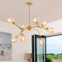 Black/Gold Designer chandeliers in the Nordic idea branches Retro Art pendent lamp glass ball lamp droplight of post modern art