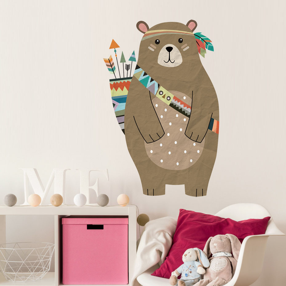 Image 4 - colourful Tribal Bear Wall sticker Woodland Animal Bear arrow decals For Children Room Tribal Nursery room Home Decor Murals Art-in Wall Stickers from Home & Garden