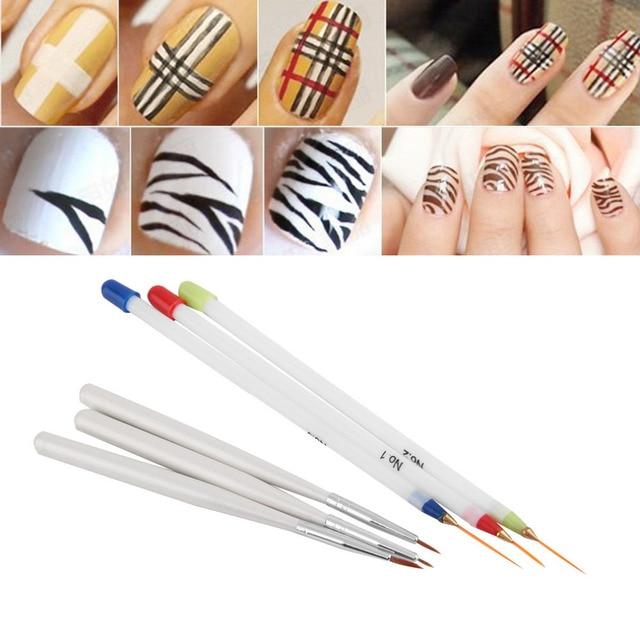6pcs Acrylic French Nail Art Liner Painting Drawing Pen Brush Tool Kit Striping Polish