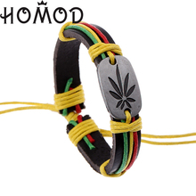 HOMOD Punk Design Jamaica Cannabis leaves Bracelets For Men New Fashion Wristband Female Leather Bracelet Trendy Jewelry