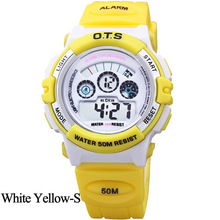 OTS Outdoor Sport Candy Colors Water Resistant Kids Fashion Digital LED Wristwatches Luxury Brand Children Silicone Stop watches