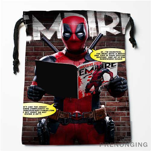 Custom Marvel Deadpool Drawstring Bags Printing Fashion Travel Storage Mini Pouch Swim Hiking Toy Bag Size 18x22cm #171208-17