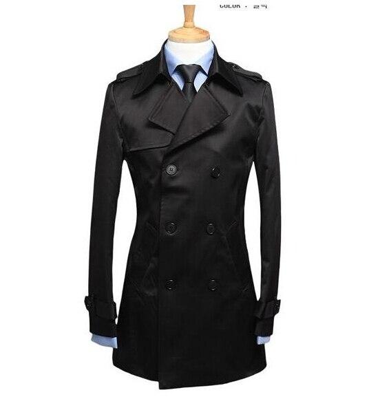 Černá pánská trenčkot kabáty opasek štíhlý módní ležérní casaco masculino krátký trenčkot kabát muži kabát jaqueta masculina plus velikost