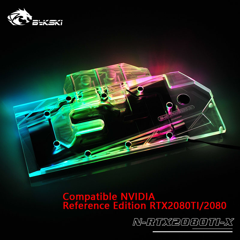 Bykski Water Block use for <font><b>NVIDIA</b></font> GeForce <font><b>RTX</b></font> <font><b>2080Ti</b></font>/2080 Founders Edition 11GB GDDR6/Reference Edition/Full Cover Copper Block image