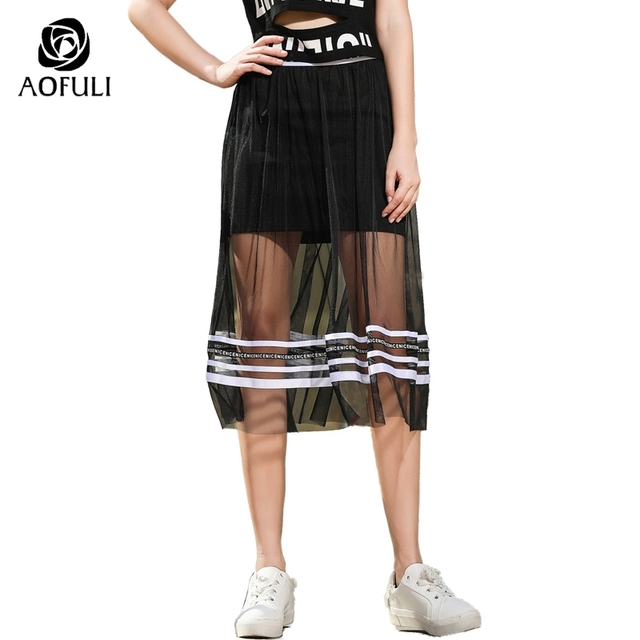 cb328e35f6d AOFULI Sexy Plus Size Tulle Skirt Summer See-through Black Mesh Letters  Print Stripe Patchwork Midi Skirt L- XXXL 4XL 5XL A3593