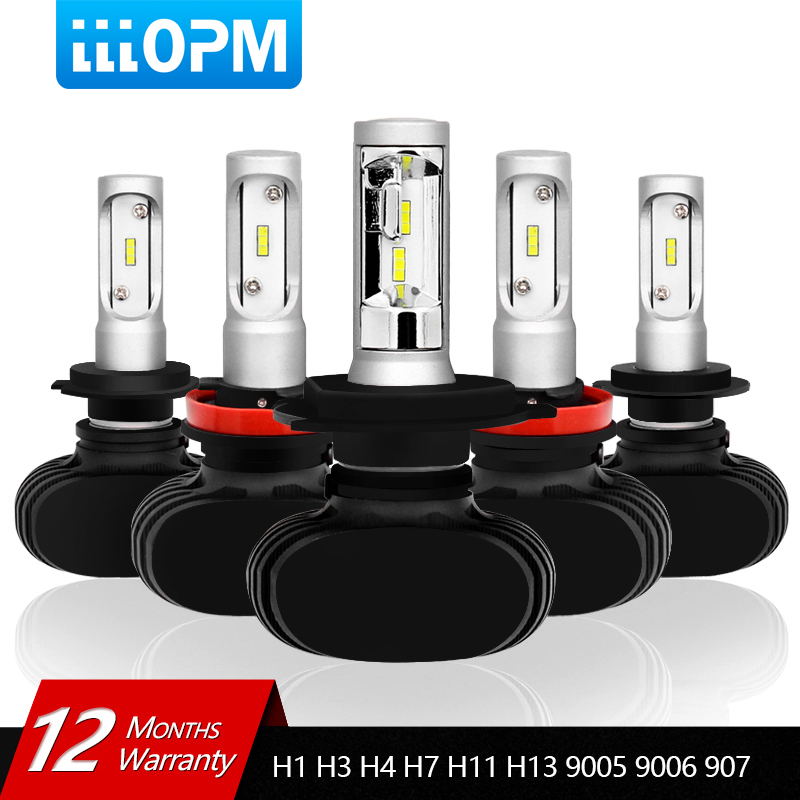 LLLOPM 2 Pcs Car Headlight S1 H7 LED H4 H1 H3 H8 H11 H13 H27 880 9004 9005 9006 9007 50W 8000LM Auto Headlamp 6500K Light Bulb 2x car led headlight 12v 24v 72w 8000lm 6000k light cob bulbs automobile headlamp h1 h3 h4 h7 h8 h11 9005 9006 9004 880 9007 h13
