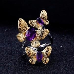 Image 3 - GEMS בלט 925 סטרלינג כסף בעבודת יד אבני חן טבעת תכשיטי בסדר 2.04Ct טבעי אמטיסט פתוחות להתאמה עבור נשים