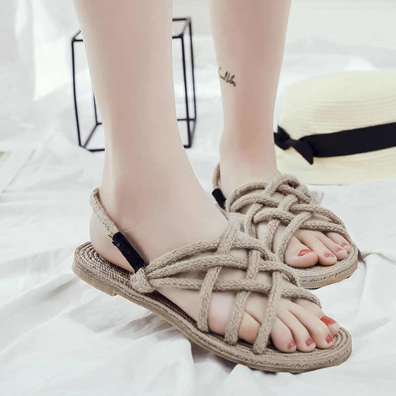 Hot Zomer Platte Sandalen voor Vrouwen Strappy Dame Meisje Strand Casual Schoenen BVN66