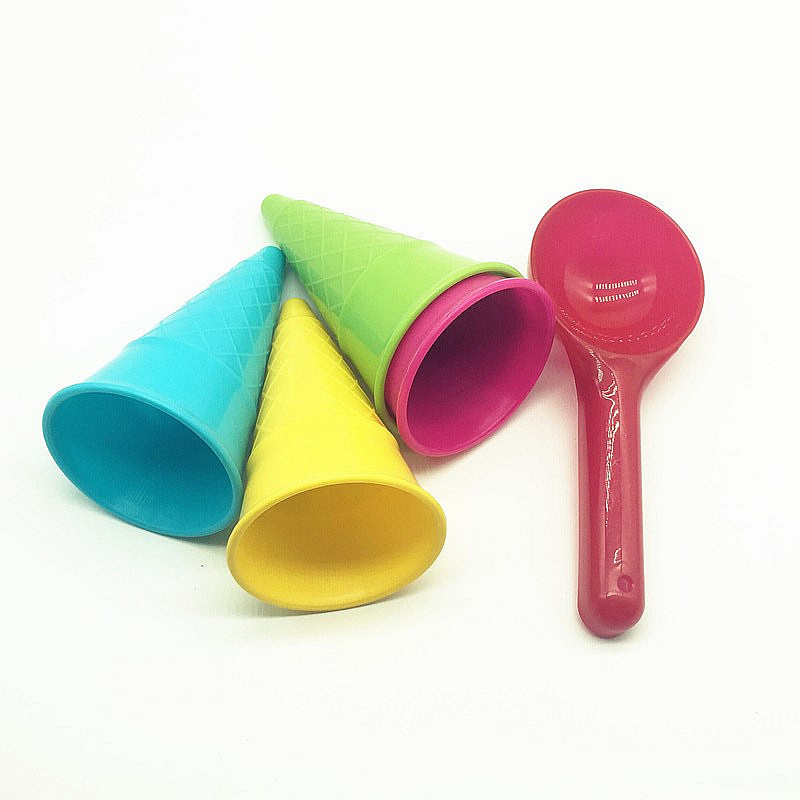 5 Pcs/lot Cute Ice Cream Cone Scoop Sets Beach Toys Sand Toy For Kids Children Educational Montessori Summer Play Set Game Gifts(China)