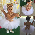 Princess Baby Girl Clothes Sequins Tops+Tutu Skirts Bow Headwear 3pcs Outfit Bebek Giyim Kids Girls Party Dress Set Costume