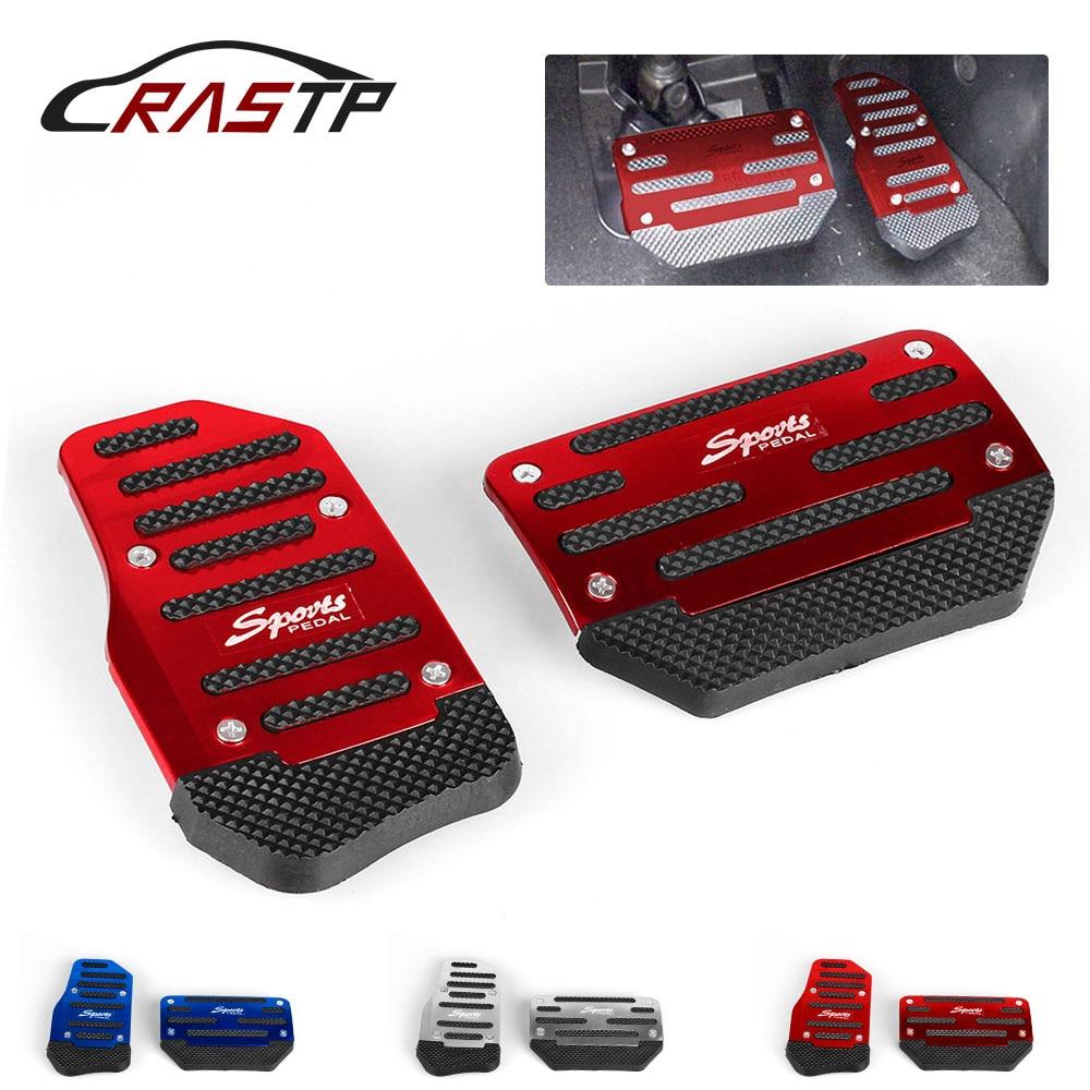 RASTP-ユニバーサル車のアルミ自動ギアブレーキアクセル非スリップ足ペダルパッドカバー 2 ピース/セット赤/ ブルー/シルバー RS-ENL017